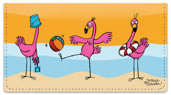 Scrivan Flamingos Checkbook Cover