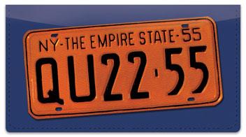 New York License Plate Checkbook Cover
