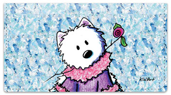Westie Floral Checkbook Cover