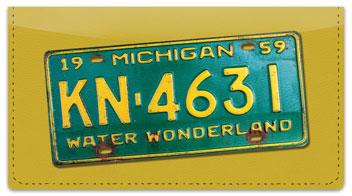Michigan License Plate Checkbook Cover