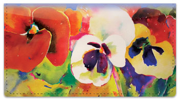 Kay Smith Pansies Checkbook Cover