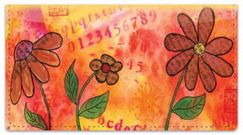 Rice Paper Flower Checkbook Cover