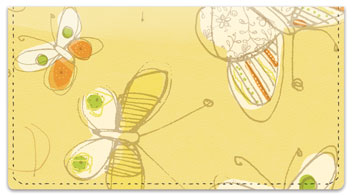 Sepia Butterflies Yellow Checkbook Covers