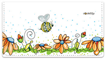 Orange Daisies with Bees Checkbook Covers
