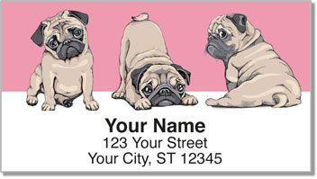 cartoon Pug Address Labels