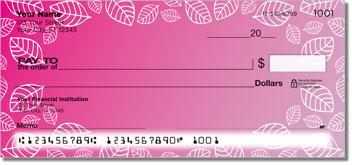 Pink Leaf Border Checks