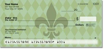 Green Fleur de Lis Personal Checks