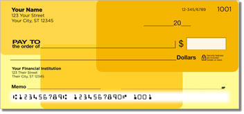 Yellow Rectangle Personal Checks