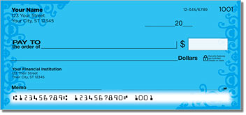 Blue Corner Scroll Personal Checks
