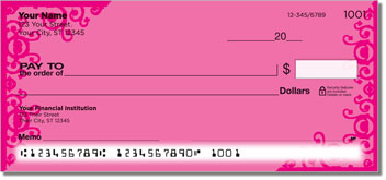 Pink Corner Scroll Personal Checks