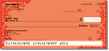 Red Corner Scroll Personal Checks