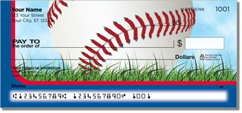 Red & Blue Baseball Fan Checks
