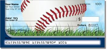 Silver & Blue Baseball Fan Personal Checks