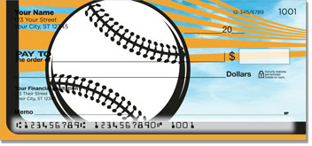 Orange & Black Baseball Fan Personal Checks