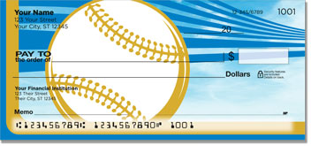 Blue & Gold Baseball Fan Personal Checks