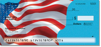 Waving US Flag Personal Checks