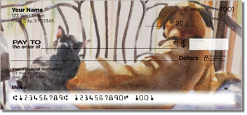 Dog and Cat Painting Personal Checks