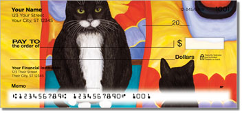Contemplating Cats 4 Personal Checks