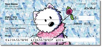 Cartoon Westie Floral Checks