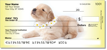 Pup in Bloom 3 Personal Checks