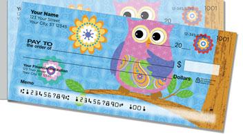 Cute owl side tear checks personal checks for New check designs