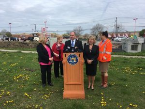 From L to R: Councilmember Hammer, Councilmember Magierski, Senator Kennedy, Supervisor Benczkowski and FAIR Chairwoman Carley Hill at Friday's announcement of state funding for the Walden Avenue road construction project. (Jim Herr/Cheektowaga Chronicle)