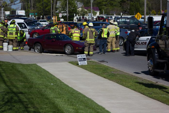 A two car crash snarled afternoon traffic on Genesee Street and sent three people to the hospital on May 15, 2017. (Jim Herr/Cheektowaga Chronicle)