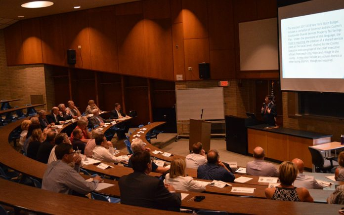 County Executive Mark Polancarz address area municipal leaders Wednesday evening at the County's first shared services meeting. (Submitted)