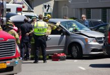 A mini-van carrying seven special needs residents from a group home was hit by a car that ran a red light at Union and William on May 20, 2017. (Jim Herr/Cheektowaga Chronicle)