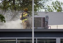 Firefighters found a seized motor inside a rooftop HVAC unit above the office space of Latina Food Service at 1 Scrivner Drive. (Jim Herr/Cheektowaga Chronicle)