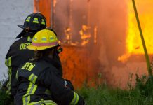 The Depew Fire Department hosted area fire departments in live training evolutions at a live burn at the intersection of Broadway and Dick Road on May 21, 2017. (Jim Herr/Cheektowaga Chronicle)