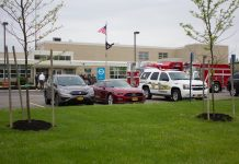Fire crews investigate smoke inside Harkness Center the morning of May 22, 2017. (Jim Herr/Cheektowaga Chronicle)