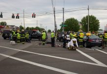 U-Crest and Depew firefighters attend to a two-car crash at George Urban and Dick Road on May 24, 2017. (Jim Herr/Cheektowaga Chronicle)