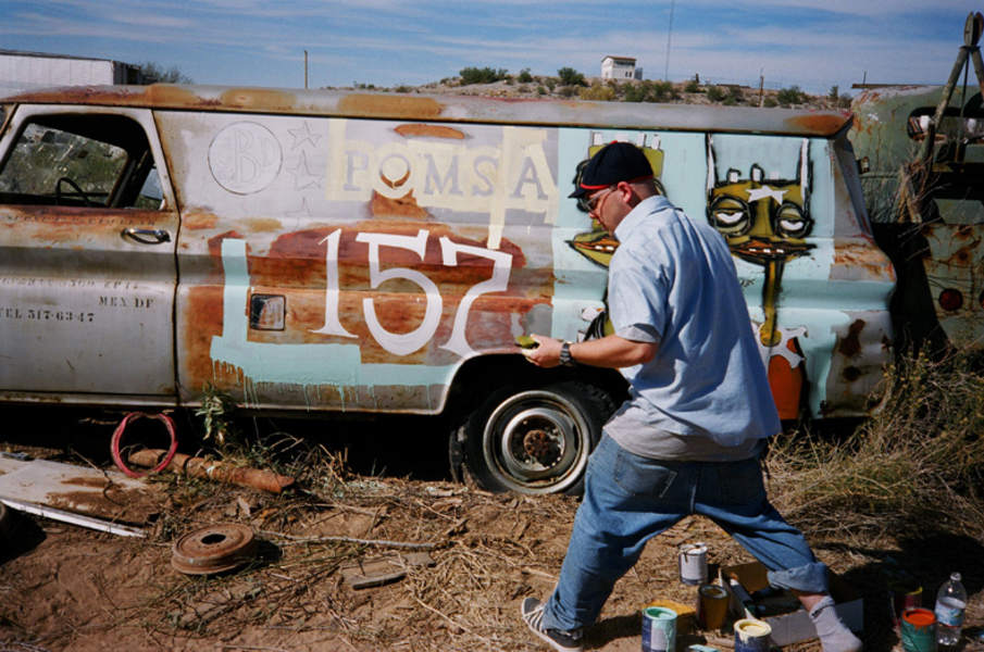 Phil Frost paints an ambulance mexico