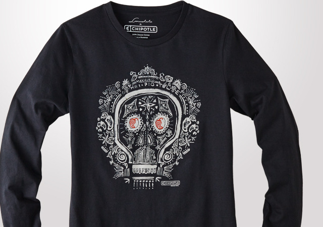 Loomstate Womens Long Sleeve Dia De los Muertos Tee