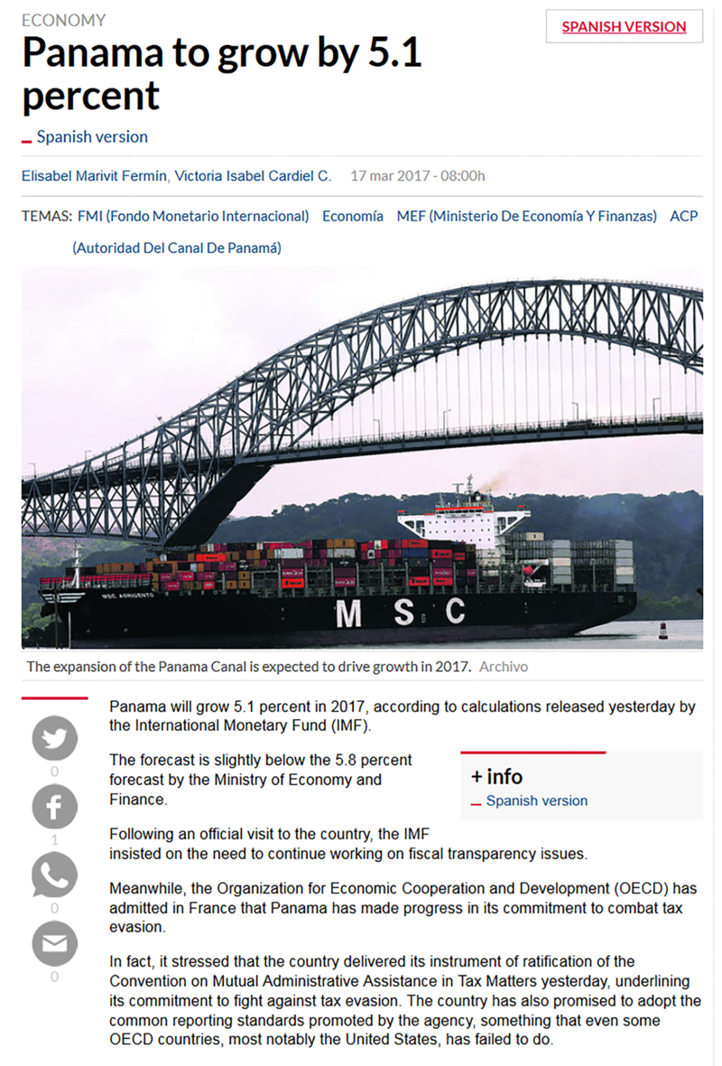 Panama to Grow by 5 pt 1 percent according to IMF.png