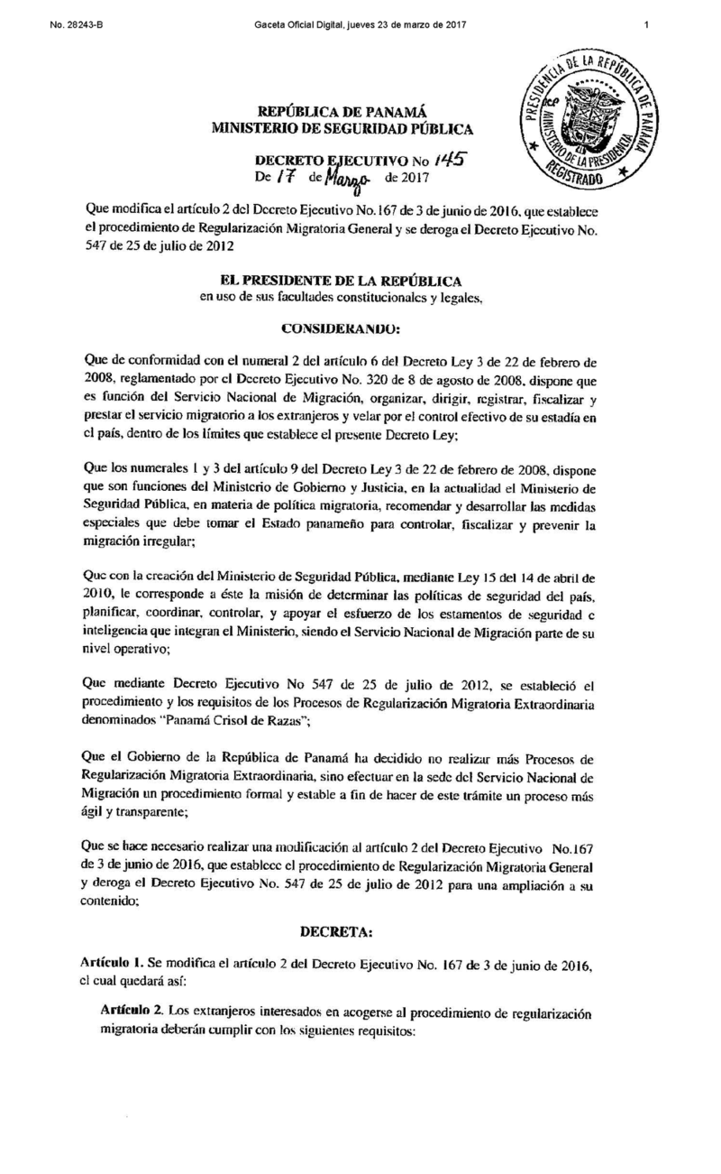 Executive Decree 145 re immigration 17 March 2017 page 1.png