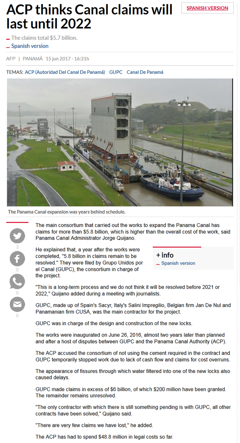 ACP Thinks Canal Claims Will Last Until 2022.png