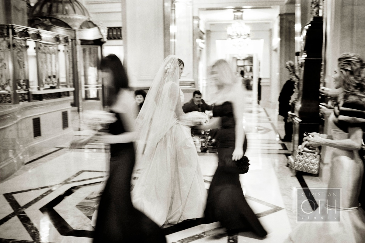 Bride walking to wedding in lobby of St Regis Hotel, NY - Christian Oth of Christian Oth Studio