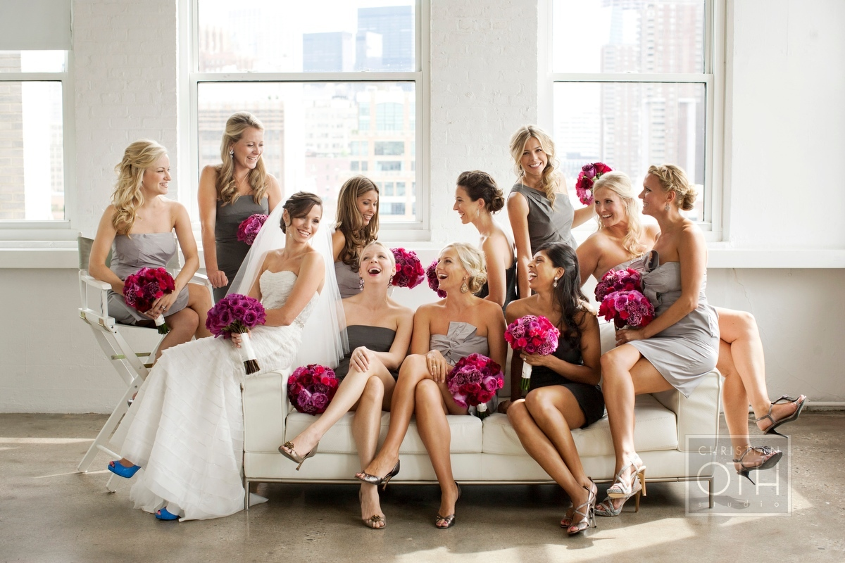 bridal party laughing - Shawn Connell of Christian Oth Studio