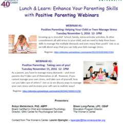 FREE Positive Parenting Webinars Nov 1 & Nov 15 from 12-1pm