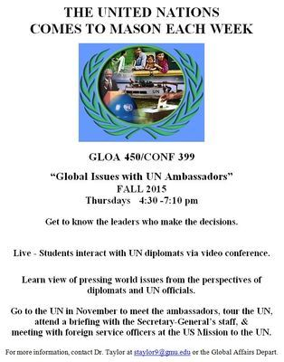 Fall 2015 Special Topics Course For Undergrad Students: GLOA 450-001
