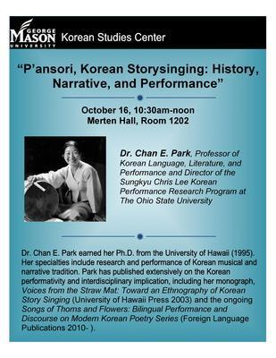 """""""P'ansori, Korean Storysinging: History, Narrative, and Performance"""" with Dr. Chan E. Park"""