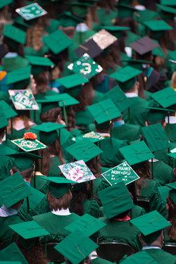 Hats on Mason Graduates