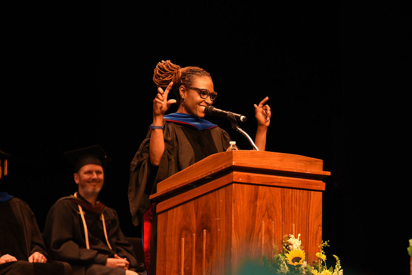 Wendi Manuel-Scott delivers her speech at the 2016 NCC Convocation