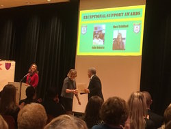 Mary Schifferli accepts her Exceptional Support Award