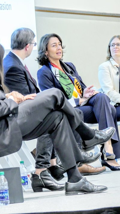 Panelist leaning back