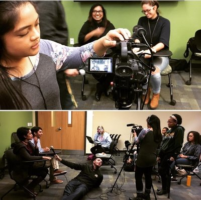 SPJ members collaborate on a video project with the Mason Cable Network
