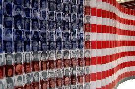 Us flag with faces