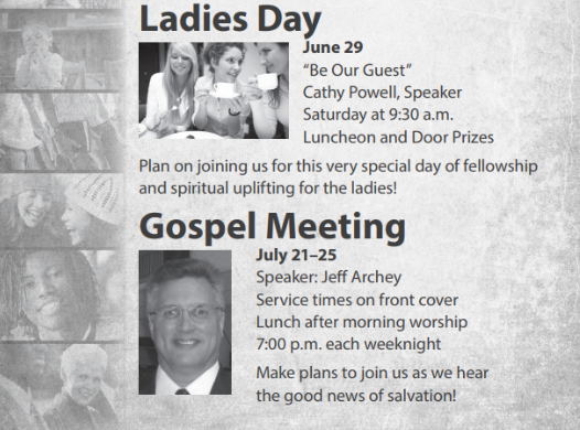 Gospel Meeting with Jeff Archey - July 21-25, 2019